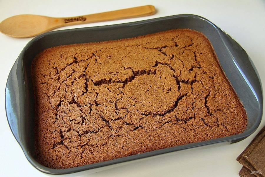 При нажатии середина не должна колыхаться. Остудите пирог в форме.