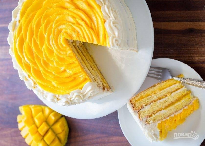 8. Оставьте десерт пропитаться на минут 40 и подавайте к столу охложденным.