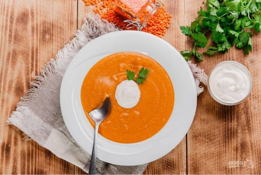 6.Вылейте суп в тарелку, украсьте густым йогуртом и веточкой кинзы, подавайте сразу после приготовления.