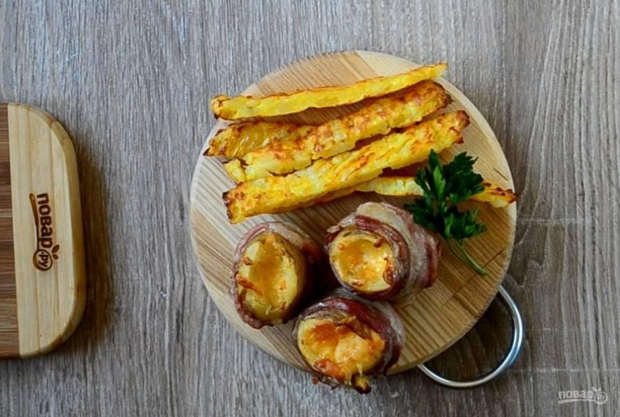 """Картофельная """"бомба"""" с сыром и беконом готова. Подавайте с любимым соусом и кушайте с удовольствием!"""