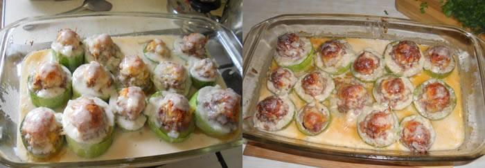Затем эту заливку добавляем в форму к кабачкам и тушим вместе 10-15 минут.