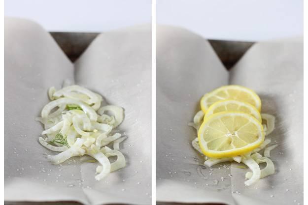 1. Включите духовку нагреваться на 230 градусов. Пергаментную бумагу порвите на 4 больших листа по 20 на 25 см. Каждый лист сложите вдвое и срежьте края полукругом, затем раскройте. Выложите на противень раскрытую бумагу. Фенхель нарежьте полукольцами, зеленую часть сохраните. Поровну разложите по центру раскрытой бумаги. Лимон промойте, нарежьте кольцами, выберите косточки. Выложите по 3 кольца лимона на фенхель. Получится своего рода ложе для семги.