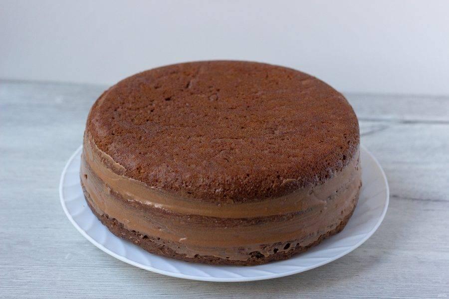 Мне крема хватило на 2 коржа. Последний корж я не покрывала. Бортик торта обмазала выступающим кремом из-под коржей. Уберите торт в холодильник на 20-30 минут, чтобы крем охладился.