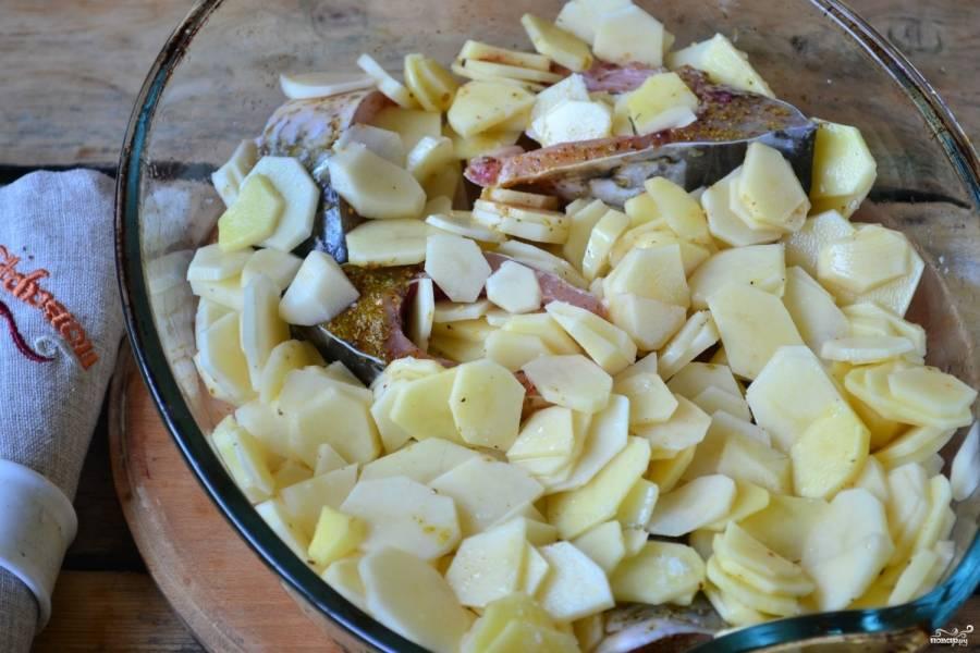 Рыбу сложите вместе с картошкой в форму для запекания, мазанную подсолнечным маслом. Присыпьте солью и приправой для рыбы и перемешайте.