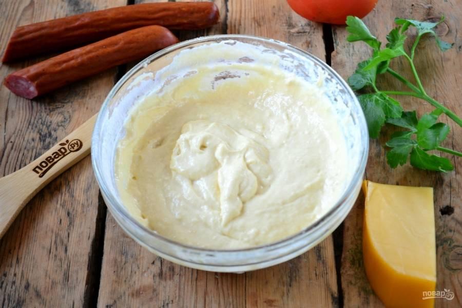 Тесто должно получиться, как на кексы, вязким и слегка жидковатым.