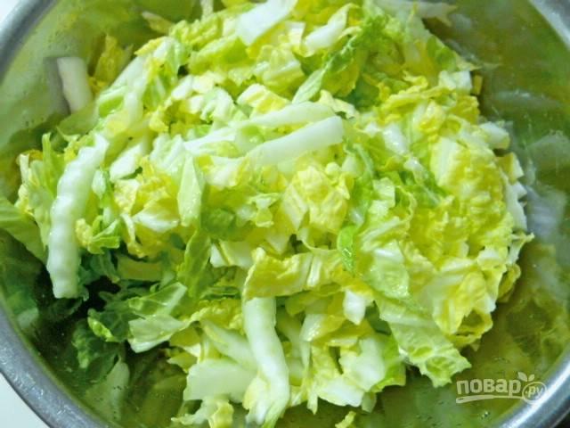 3.Перемешиваю капусту руками и оставляю на 7-10 минут, чтобы капуста дала сок.
