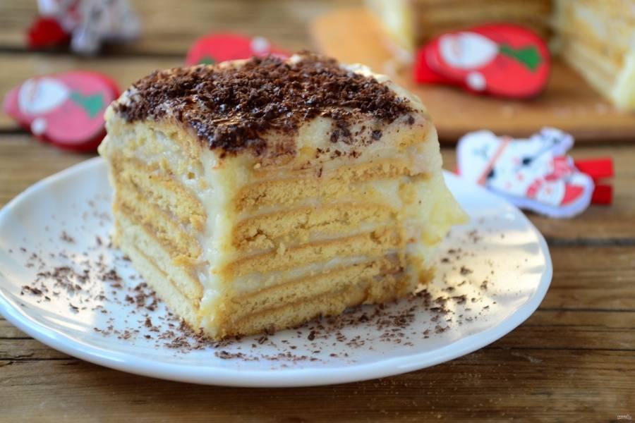 Готовому тортику дайте несколько часов пропитаться. Приятного чаепития!