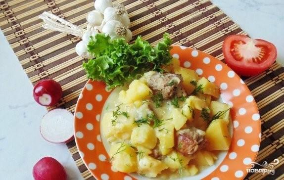 4.Блюдо красиво уложите на тарелку и украсьте зеленью. Вот и все, секреты как приготовить свинину со сметаной и картофелем.