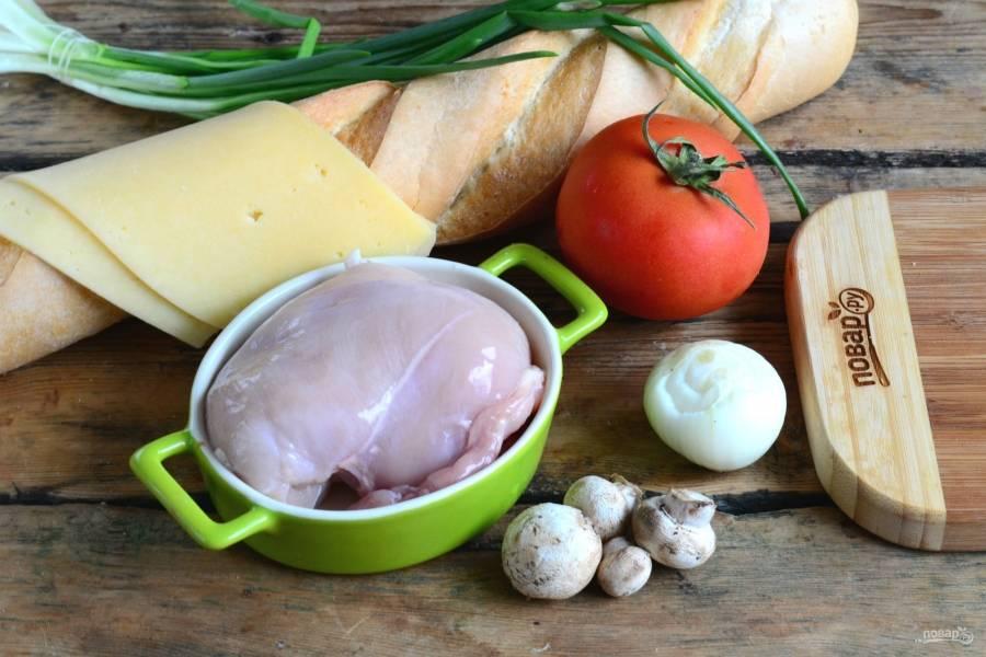 Подготовьте все необходимые ингредиенты. Сыр я использую бутербродный, во-первых, его не надо натирать, а во-вторых, мне больше нравится, как он плавится.