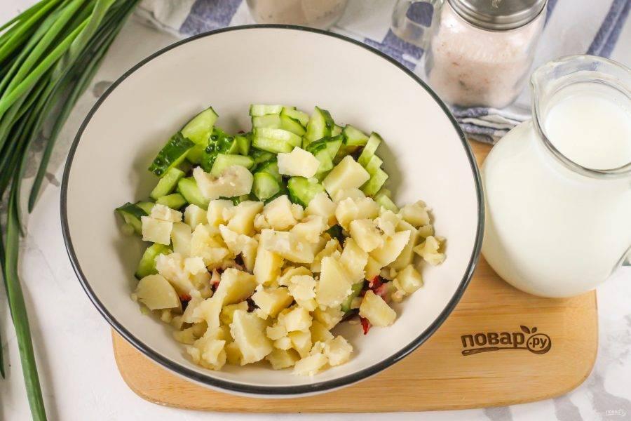 Очистите и промойте отварной картофель, нарежьте мелкими кубиками. Тщательно промойте свежие огурцы, срежьте хвостики и нарежьте их четвертинками или кубиками. Если овощи поздних сортов, то удалите кожуру и семена. Добавьте обе нарезки в емкость к натертой свекольной массе.
