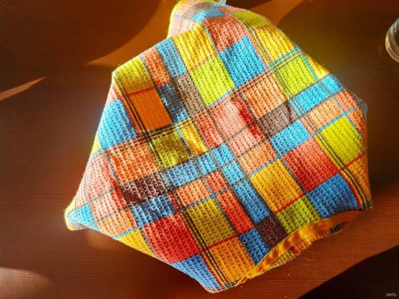 Накройте миску с тестом полотенцем и поставьте в теплое место. Тесто должно подняться в два-три раза.