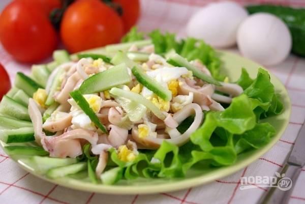 Кальмаровый салат классический