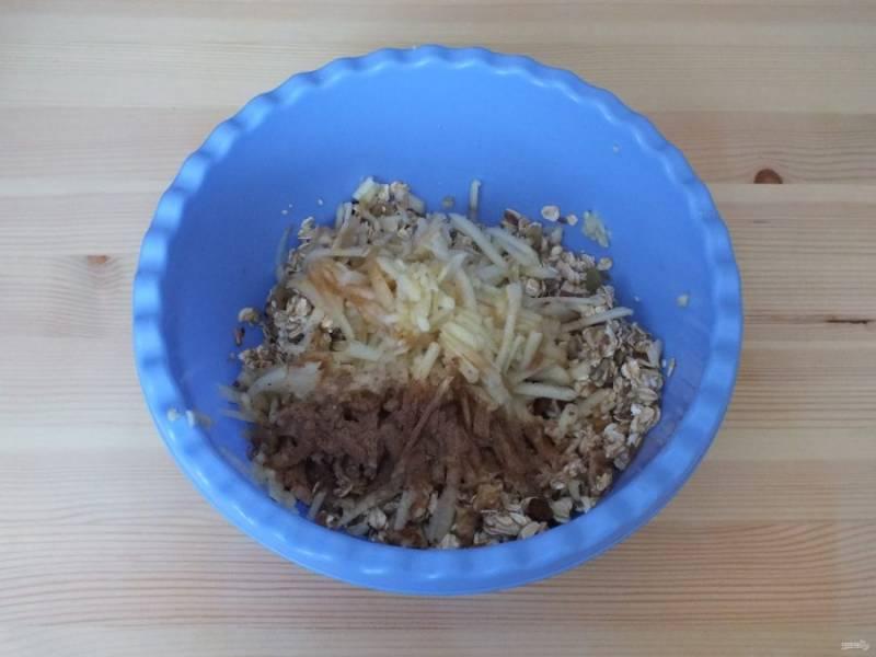 Яблоко очистите от кожуры, удалите сердцевину и натрите на крупной терке в чашу к хлопьям, добавьте по вкусу корицу. Перемешайте. Разогрейте духовку до 180 градусов.