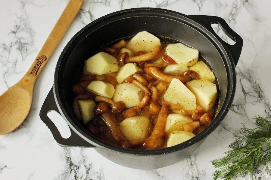 Залейте картофель с опятами водой, чтобы она практически покрыла их, добавьте соль и любимые специи. Поставьте на плиту, доведите до кипения, снимите образовавшуюся пенку и варите на умеренном огне до готовности.