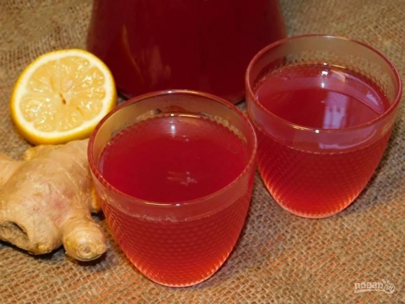 Противовирусный имбирный напиток с клюквой