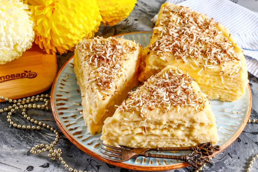 Вафельный торт с заварным кремом