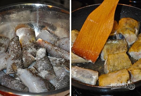 4. Рыбку очистите, вымойте, посолите по вкусу. Можно добавить специи для рыбы. Обваляйте ее со всех сторон в муке и обжарьте на сильном огне до образования легкой корочки.