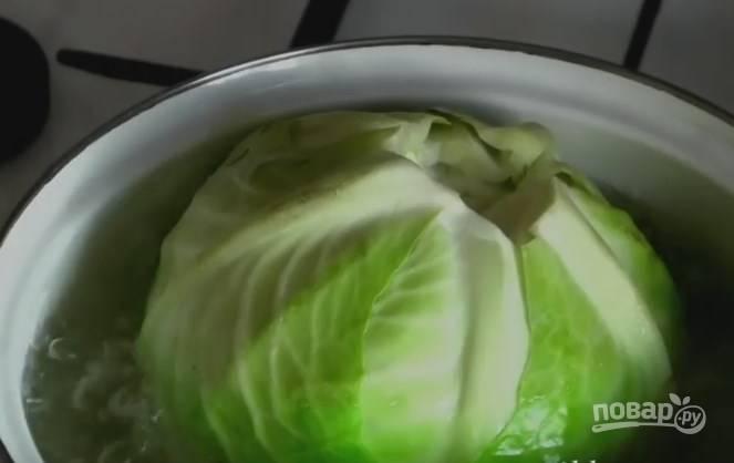 1. Кочан капусты помойте, вырежьте у него кочерыжку и отправьте в кипящую воду. Немного проварите и достаньте.