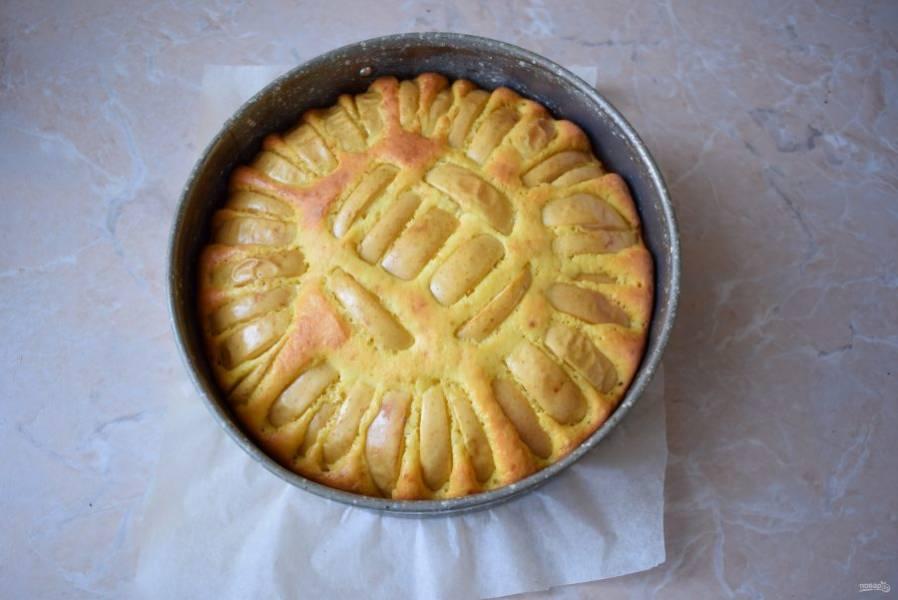 Выпекайте пирог в духовке, разогретой до 180 градусов, в течение 40-50 минут. Готовый пирог извлеките из духовки и немного остудите.