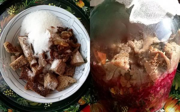 Для шпундры используется свекольный квас. Натрите две крупные свеклы на терке,  добавьте два ломтика обжаренного ржаного хлеба, 4 ст. л. сахара, изюм и 600 мл теплой воды. Накройте марлей, оставьте для брожения на 3 дня. Когда квас готов, процедите его.