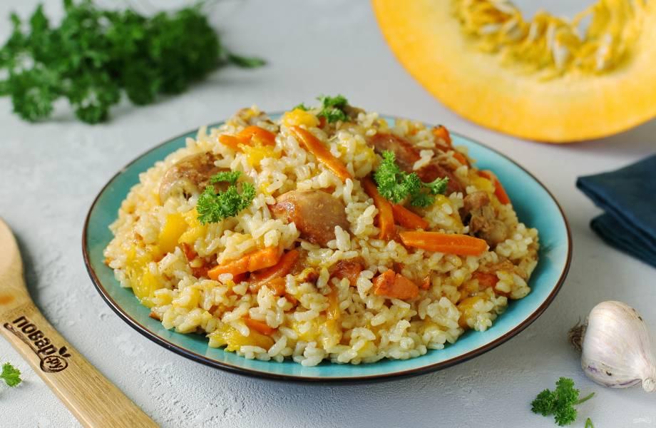 Рис с курицей и тыквой