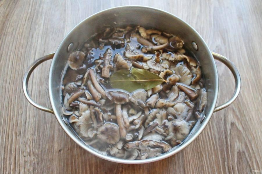 Выложите в кастрюлю отваренные грибы, влейте уксус и варите в течение 25 минут на маленьком огне.