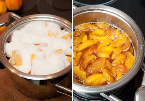 Засыпаем персики сахаром и отправляем кастрюлю на всю ночь в холодильник. Таким образом персики пустят сок. Варить варенье нужно 1,5-2 часа до загустения. Постоянно помешивайте, если будет появляться пена - снимайте. Готовое варенье остудите и подавайте на стол!
