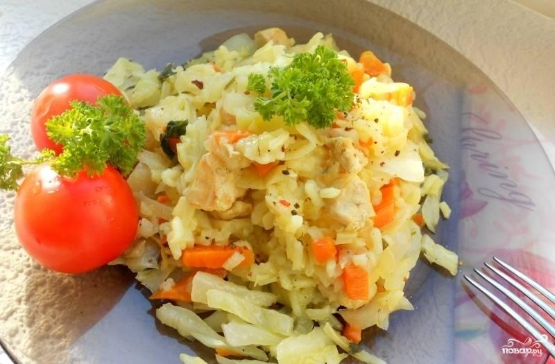 Капуста с рисом в мультиварке