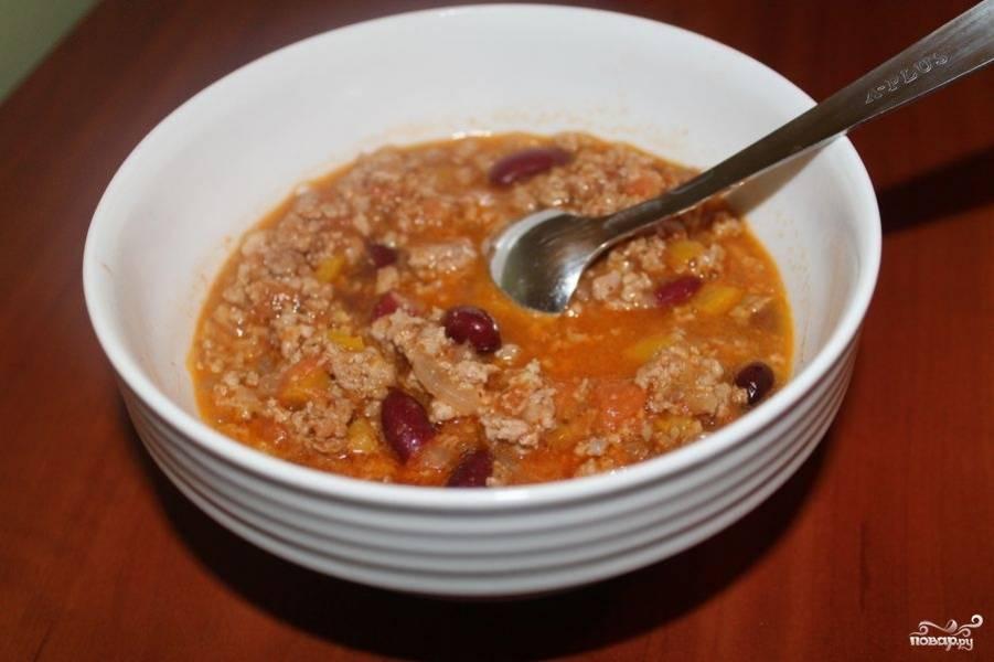Мексиканский суп с фаршем