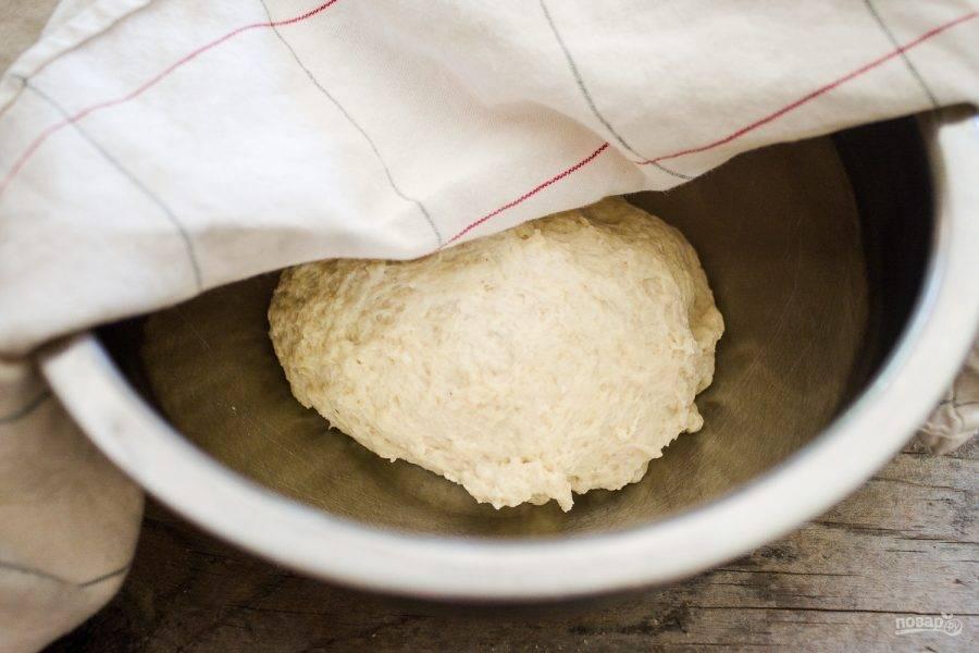 1.Дрожжевое тесто выложите в миску, накройте полотенцем и оставьте, чтобы оно подошло.