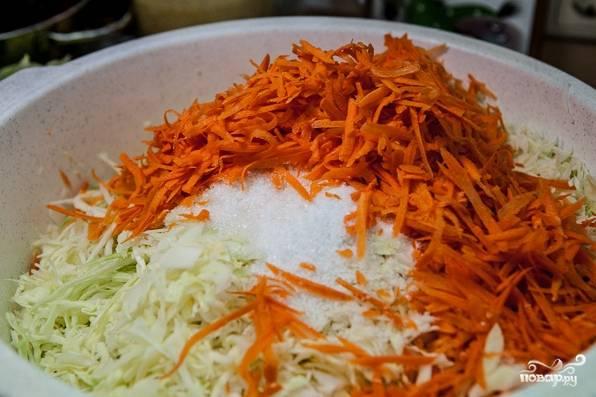 7. Соедините капусту, морковь, сахар и соль. Как следует перемешайте до однородности.