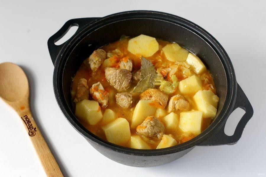 Готовому рагу из свинины с капустой дайте немного настояться и подавайте к столу.