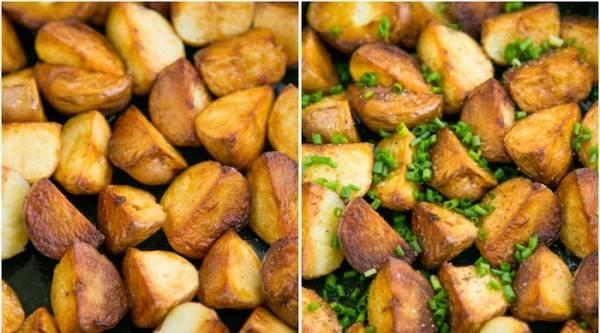 Картофель обжарьте полностью и посыпьте зеленым луком.