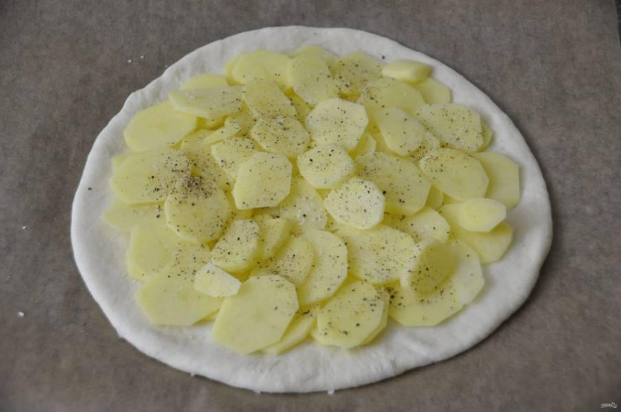 Раскатайте самый большой кусок теста в пласт, выложите на лист для выпечки, уложите на него картофель, посолите, поперчите.
