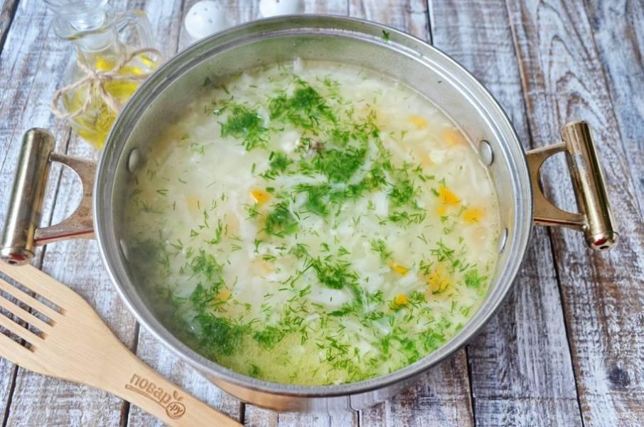 Проварите суп с заправкой минутку, добавьте зелень свежую и снимите с огня. Щи готовы!