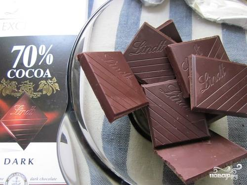 6. Настоящим сладкоежкам рекомендую дополнить этот простой рецепт постного пирога с бананами шоколадом. Для этого на водяной бане растопите плитку хорошего черного шоколада.