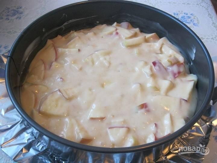 Форму для выпечки смажьте растопленным маслом. Влейте в неё половину теста. Выложите яблоки. Сверху добавьте оставшееся тесто.
