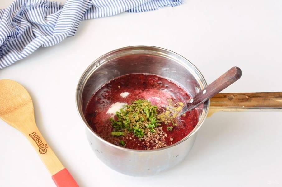Добавьте соль и сахар, их количество по вкусу можно регулировать, тут еще зависит от сорта и сладости слив. Добавьте мелко нарезанную мяту, хмели-сунели, растолченный кориандр.