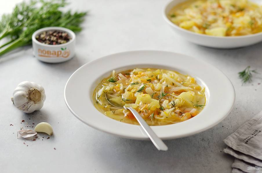Овощной суп без мяса с капустой