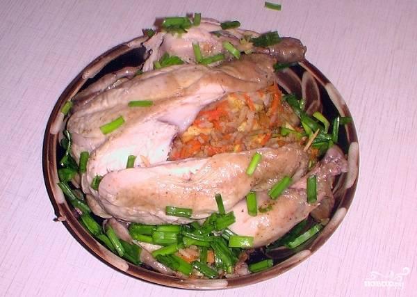 Курица в рукаве, фаршированная рисом