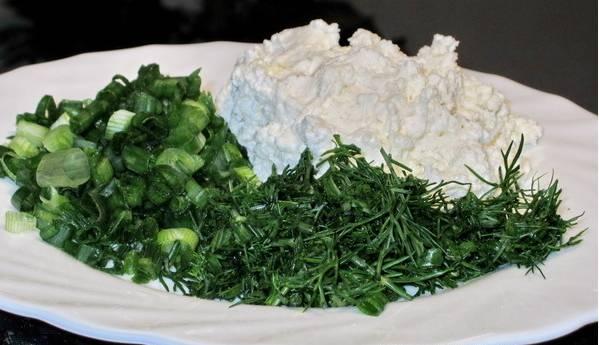 1. Творог смешаем с измельченной зеленью. Затем добавим молоко и специи, вымешаем до однородности.