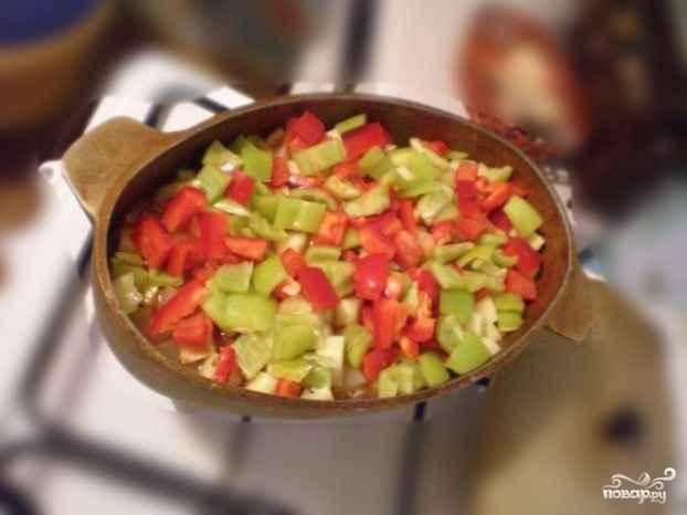 Последним в рагу добавляется болгарский перец (красный и зеленый). Их нужно меньше всего тушить, поэтому закидываем их обычно за 2-3 минуты до конца приготовления.