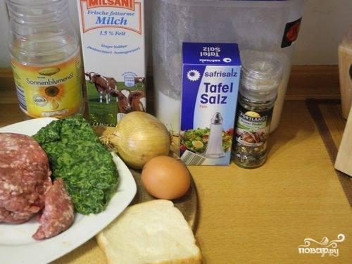 1.Берем все ингредиенты для приготовления котлет.