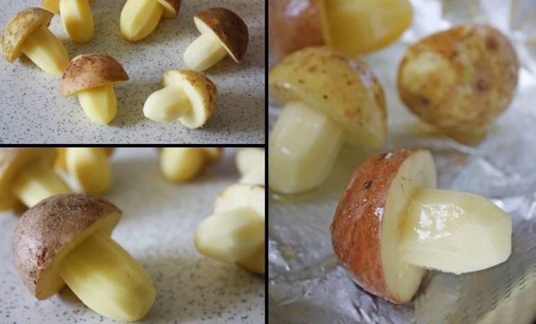 Постепенно удаляя мякоть, придаем каждой картофелине форму грибочка. Перекладываем грибы на противень, застеленный фольгой. Солим и перчим по вкусу, обильно поливаем растительным маслом. Запекаем в духовке 50 минут, температура 200 градусов.