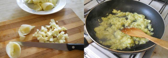 Сердцевинки от кабачков (без семян), мелко порезать, посолить, дать немного постоять, отжать и обжарить на растительном масле. Остатки масла слить в форму для запекания. Кабачковую массу остудить.