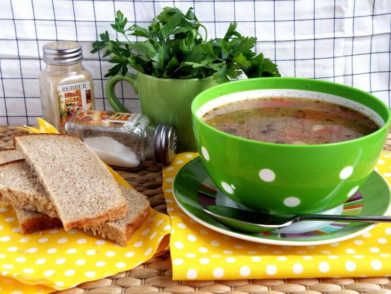 Суп с макаронами и консервированным горошком
