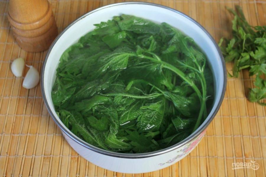 Крапиву кладем в миску и заливаем кипятком, затем хорошо промываем. Выбираем только молодые листочки и нарезаем.