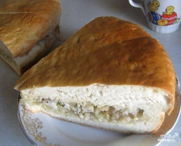 Рыбный пирог на майонезе