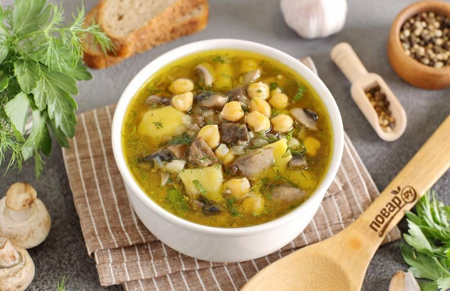 Грибной суп с нутом