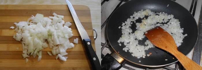 Лук мелко порезать, обжарить на небольшом количестве масла, так чтобы он начал только слегка подрумяниваться.